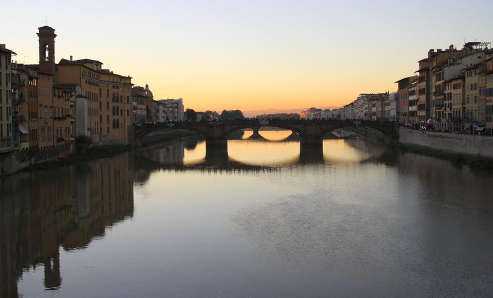 Solnedgang, Arno, Firenze