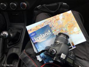 Island leiebil, kart, kamera