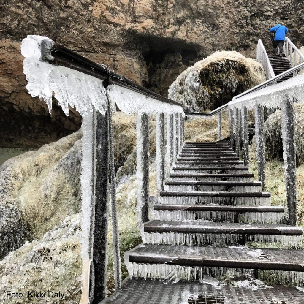 Island Seljandsfoss_frossen trapp
